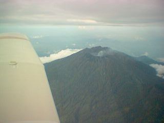 N4349A over an Indonesian volcano